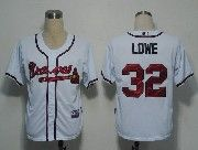Mens mlb atlanta braves #32 lowe white Jersey