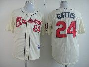 Mens mlb atlanta braves #24 gattis cream Jersey