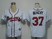 Mens mlb atlanta braves #37 beachy white Jersey