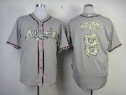 Mens Mlb Atlanta Braves #8 Upton Gray Camo Number Jersey
