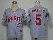 Mens Mlb Los Angeles Angels #5 Pujols Gray Jersey