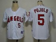 Mens mlb los angeles angels #5 pujols white Jersey