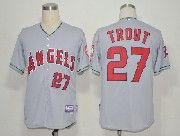 Mens Mlb Los Angeles Angels #27 Mike Trout Gray Jersey