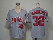 Mens Mlb Los Angeles Angels #32 Hamilton Gray Jersey