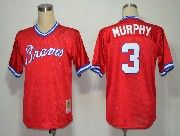 Mens mlb atlanta braves #3 murphy red throwbacks Jersey