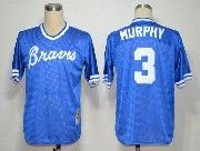 Mens mlb atlanta braves #3 murphy light blue throwbacks Jersey