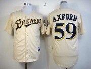 Mens mlb milwaukee brewers #59 axford cream Jersey