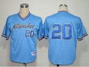 Mens mlb milwaukee brewers #20 light blue (no name) Jersey