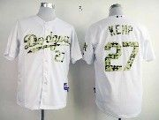 Mens mlb los angeles dodgers #27 kemp white camo number Jersey