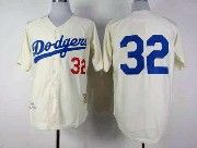 Mens mlb los angeles dodgers #32 (no name) throwbacks cream Jersey