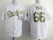 Mens mlb los angeles dodgers #66 puig white camo number Jersey