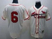 Mens mlb st.louis cardinals #6 musial cream throwbacks Jersey