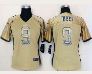 women  nfl New Orleans Saints #9 Drew Brees drift fashion gold elite jersey