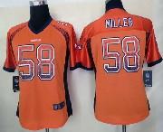 women  nfl Denver Broncos #58 Von Miller drift fashion orange elite jersey