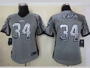 Women  Nfl Oakland Raiders #34 Bo Jackson Gray Drift Fashion Elite Jersey
