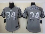 Women  Nfl Oakland Raiders #34 Bo Jackson Gray Drift Fashion Elite Jersey