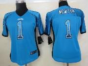 women  nfl Carolina Panthers #1 Cam Newton blue drift fashion elite jersey