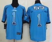 mens nfl Carolina Panthers #1 Cam Newton light blue drift fashion elite jersey