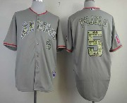 Mens Mlb Los Angeles Angels #5 Pujols Gray Camo Number Jersey