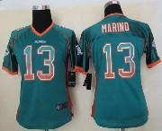 Women  Nfl Miami Dolphins #13 Marino Green Drift Fashion Elite Jersey