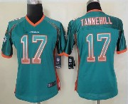 Women  Nfl Miami Dolphins #17 Tannehill Green Drift Fashion Elite Jersey