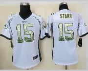 Women  Nfl Green Bay Packers #15 Starr White Drift Fashion Elite Jersey