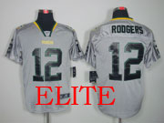 mens nfl Green Bay Packers #12 Aaron Rodgers gray (light out) elite jersey