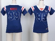women  nfl Houston Texans #99 JJ Watt blue fashion rhinestone sequins jersey