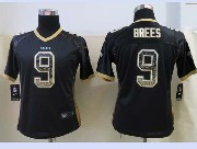 women  nfl New Orleans Saints #9 Drew Brees drift fashion black elite jersey