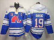 Mens nhl quebec nordiques #19 sakic blue c patch hoodie Jersey