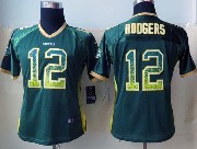 women  nfl Green Bay Packers #12 Aaron Rodgers green drift fashion elite jersey