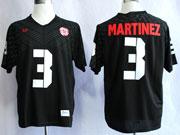 Mens Ncaa Nfl Nebraska Cornhuskers #3 Martinez Black Jersey Gz