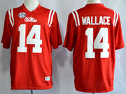 Mens Ncaa Nfl Ole Miss Rebels #14 Wallace Red Limited Jersey Gz