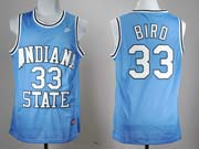Mens Ncaa Nba Indiana State Sycamores #33 Larry Bird Blue Jersey Gz
