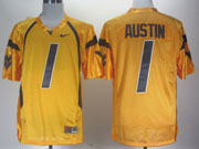 Mens Ncaa Nfl Virginia Mountaineers #1 Austin Yellow Jersey Gz