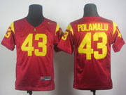 Youth Ncaa Nfl Usc Trojans #43 Polamalu Red Elite Jersey Gz