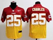 Mens Nfl Kansas City Chiefs #25 Charles Red&yellow Drift Fashion Ii Elite Jersey