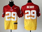 Mens Nfl Kansas City Chiefs #29 Berry Red&yellow Drift Fashion Ii Elite Jersey
