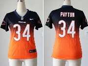 women  nfl Chicago Bears #34 Walter Payton blue&orange drift fashion ii elite jersey