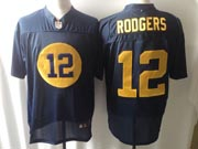 mens nfl Green Bay Packers #12 Aaron Rodgers blue (yellow number) elite jersey