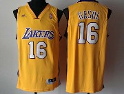 Mens Nba Los Angeles Lakers #16 Gasol Gold Revolution 30 Jersey (p)
