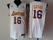 Mens NBA Los Angeles Lakers #16 GASOL Revolution 30 WHITE JERSEY (P)