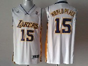 Mens Nba Los Angeles Lakers #15 World Peace White Revolution 30 Jersey (p)