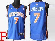 mens nba New York Knicks #7 Carmelo Anthony blue (v collar) revolution 30 jersey (p)