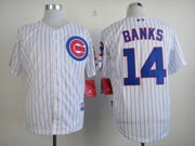 Mens mlb chicago cubs #14 banks white (cool base) Jersey