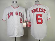 Mens mlb los angeles angels #6 freese white Jersey