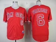 Mens mlb los angeles angels #6 freese red Jersey