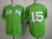Mens Mlb Boston Red Sox #15 Pedroia Green (no Name) Jersey