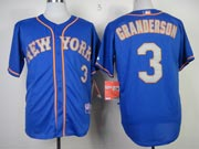 Mens mlb new york mets #3 granderson blue (gray number) Jersey