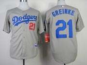 Mens mlb los angeles dodgers #21 greinke gray (2014 new) Jersey